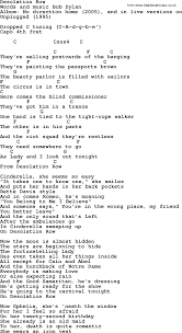 Bob Dylan song Desolation Row lyrics and chords