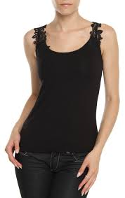 ladies sleeveless stretch camisole top with venice lace applique