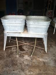 Kitchen Sink Gurgles Randomly by Vtg Galvanized Metal Double Wash Tubs Wheeled Stand Rinse Sink