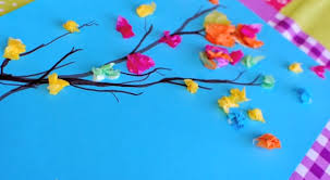 Paint And Tissue Paper Spring Branches