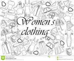 Women Clothing Coloring Book Vector Illustration