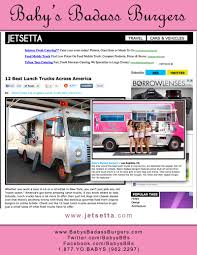Baby Love (In The Media) - Baby's Burgers - San Diego - 844-SUN-BABE ... Food Truck 2dineout The Luxury Food Magazine 10 Things You Didnt Know About Semitrucks Baked Best Truck Name Around Album On Imgur Yyum Top Trucks In City On The Fourth Floor Hoffmans Ice Cream New Jersey Cakes Novelties Parties Wikipedia Your Favorite Jacksonville Trucks Finder Pig Pinterest And How To Start A Business Welcome La Poutine