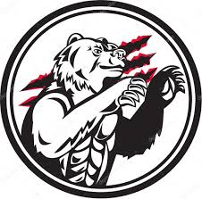 California Grizzly Bear Smirk Paw Circle Retro Stock Vector