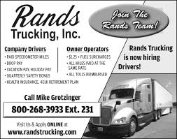 Join The Rands Trucking Team!, Rands Trucking, Inc, Medford, WI Missing Oregon Truck Driver Found Looking For A Trucking Career With Us Otr Drivers Owner Operators Rands Inc Medford Wi Jj Brandon Llc Rays Photos Berry Best Image Kusaboshicom Oldland Distributing Needle Nose Valley Equipment Rb Browns May Company Former Terminal Ma Update Invesgation Shows Car Pulled Out In Front Of Coal Truck Kinard York Pa