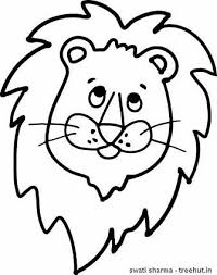 Gir Lion Face Mask Template Coloring Page