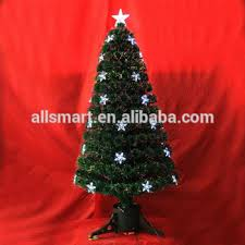 3 Green Small Fiber Optic Color Changing Artificial Christmas Tree Parts With LED Lights