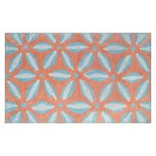 geo floral bath rug coral blue threshold target
