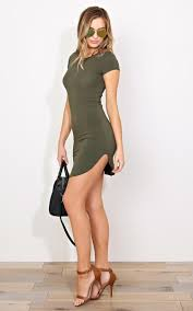 and hips olive scooped knit t shirt dress