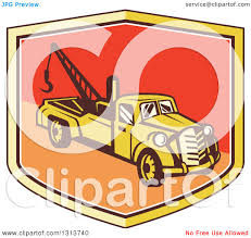 100 Tow Truck Clipart Of A Retro In A Yellow Red And Orange Shield