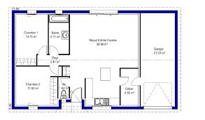plan de maison 2 chambres plan maison moderne 100m2 affordable modle plan maison plain pied