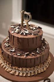 Rustic Chocolate Tiered Grooms Cake