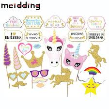 MEIDDING 30pcs Unicorn Photo Booth Props Cute Unicorns Rainbow Paperboard Baby Shower Decor Girls Christmas Party