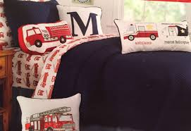 100 Fire Truck Bedding Twin 28 Comforter Blue Red Vintage Boys