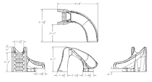 SR Smith Cyclone Pool Waterslide Installed Dimensions Drawing Of The