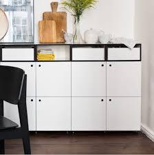 sideboard esszimmer mit türen und schubladen highboard wohnzimmer weiß mit schwarzen kanten 214x92x35 cm stocubo