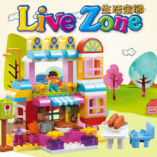 2017 New Colorful Live Zone Big Bricks Building Block Funny Store Restaurant Bakery For Children Educational Toys patible in Blocks from Toys & Hobbies