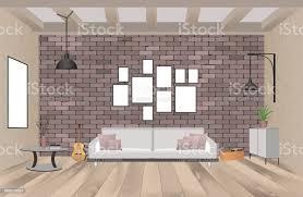 wohnzimmer einrichtung mit möbeln im stil der mit leeren rahmen sofa len gitarre und ziegel wand stock vektor und mehr bilder alt