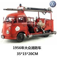 Hot Classic 1956 Volkswagen Fire Truck Model Creative Mini Iron Fire ...