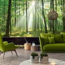 details zu vlies fototapete wald sonne landschaft bäume grün natur wohnzimmer tapete 7