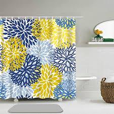 abili duschvorhang grünes frühlingsblumen blau gelb und marineblau chrysanthemen blume badezimmer dekoration wasserdichtes polyestergewebe