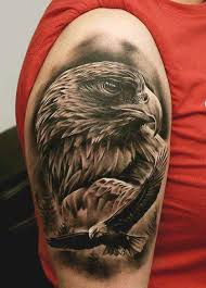 Realistic 3d Flying Eagle And Head Tattoos Designs On Shoulder For Guys