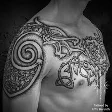 Complicated Viking Tattoos On Back Body