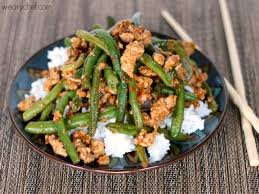 Chinese Green Beans With Ground Turkey Over Rice Healthy Dinner