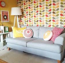 Living Room With Orla Kiely Wallpaper