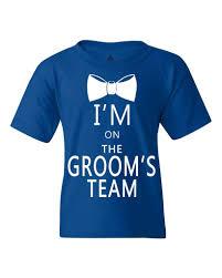 white i m on the groom s team youth u0027s t shirt marriage wedding