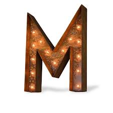 24 Letter M Lighted Vintage Marquee Letters Modern Font Rustic