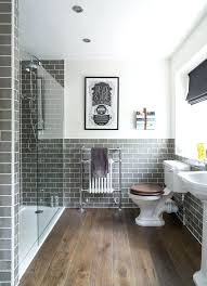 Rustic Subway Tile Photo 4 Of 9 Traditional Bathroom With Dark Wood Floors Gray
