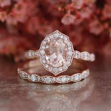 Bridal Set Vintage Floral Oval Morganite Engagement Ring And Scalloped Diamond Wedding Band In 14k Rose