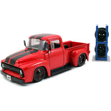 1956 Ford F-100 Red Pickup Truck \Just Trucks\ With Extra Wheels 1 ... Classic Metal Works Ho 1960 Stakebed Ford Truck Yellowred Ertl 118 F 100 Diecast Model Car Aw211 Svt F150 Lightning Pickup Red Maisto 31141 121 Not A Toy 1925 Panel Delivery Super Duty F350 Dually Biguntryfarmtoyscom 2016f250dhs Colctables Inc Majorette Premium 150 Cars Street Cruisers 66 Party Favors Rroplanetcom Raptor Highlift By Scale 187 With Moving Van Trailer Custom Coe 9000 Toys Proline F650 Monster Body Clear Pro319300 1956 F100 124 Scale American Diecast