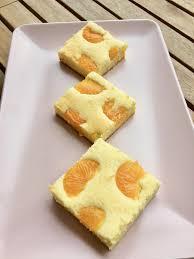 cremiger mandarinen quarkkuchen ohne boden aufgegabelt
