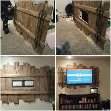 pallet rustic tv back drop woodworking pinterest pallets