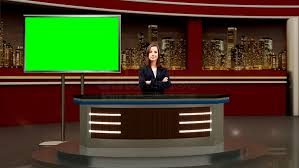 News 041 TV Studio Set Virtual Green Screen Background PSD
