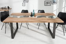 casa padrino designer massivholz esstisch natur eiche mit glaseinsatz 200 cm esszimmer tisch