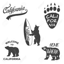 Vector Vintage Monochrome California Badges And Design Elements