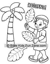 Palm Sunday Colorinig Page For Kids Showing A Child Waving Branches That Says Hosanna Donkey Coloring