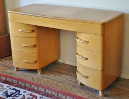 heywood wakefield kneehole desk vintage mid century modern light