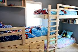 bedroom homemade triple bunk bed plans all three beds installed