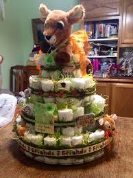 Deer Hunting Diaper Cake Babyshower I Like How The Ribbon Is Decorated With Green Moss
