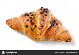 Delicious French Chocolate Croissant Butter Filling Crumbles Stock Photo