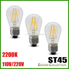 led filament type 2w 3 watt st45 shape bulb 40 watt equal cri 85
