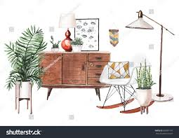 Hand Painted Watercolor Sketch Midcentury Interior Stock ...
