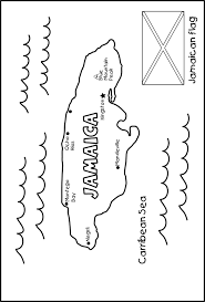 Color The Jamaica National Flag Map
