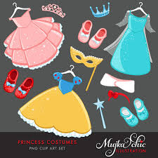 Princess Costumes Clipart With Cute Matching Dress Up Accessories Instant Download Costume Graphics From MUJKA On Etsy Studio