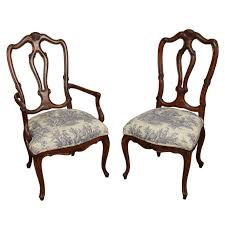 Set Of 8 Cherry Wood Dining Chairs In White And Blue Toile Wooden Room