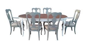 Gray White French Country Dining Set Chairish Image Of ... Refinished Painted Vintage 1960s Thomasville Ding Table Antique Set Of 6 Chairs French Country Kitchen Oak Of Six C Home Styles Countryside Rubbed White Chair The Awesome And Also Interesting Antique French Provincial Fniture Attractive For Eight Cane Back Ding Set Joeabrahamco Breathtaking