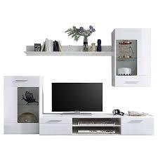 hbz meble wohnwand korpus weiß dekor front mdf weiß hochglanz für ihr wohnzimmer wohnkombination ohne beleuchtung am lager